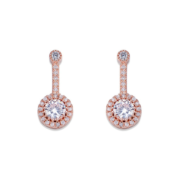 Rose Gold & Crystal Drop Earrings | ${Vendor}