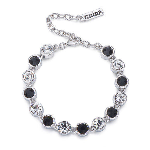 Black and Crystal on Silver Bracelet | ${Vendor}