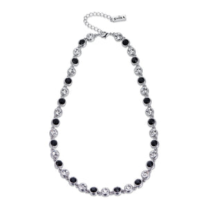 Black and Crystal on SIlver Necklace | ${Vendor}