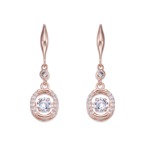 Rose Gold and Crystal Dangle Earrings | ${Vendor}