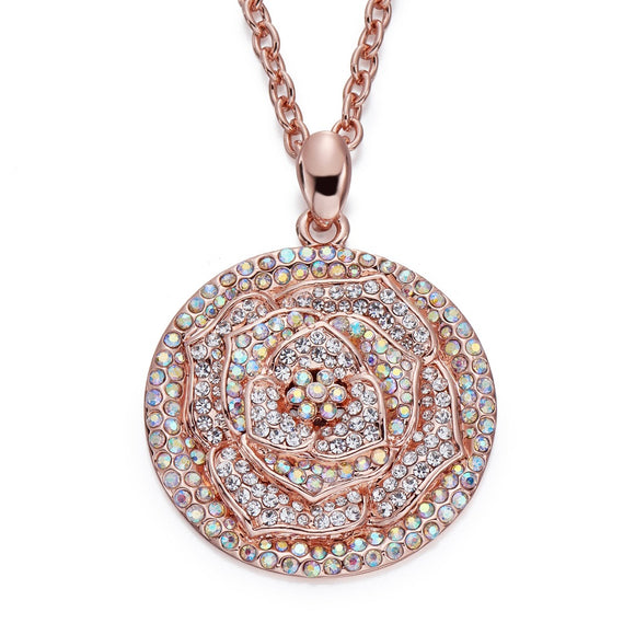 Crystals AB on Rose Gold Pendant Necklace | ${Vendor}