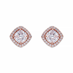 Crystals on Rose Gold Stud Earrings | ${Vendor}