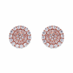 White and Rose Gold Crystal Stud Earrings | ${Vendor}