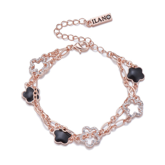 Rose Gold Bracelet with Black and White Crystals | ${Vendor}