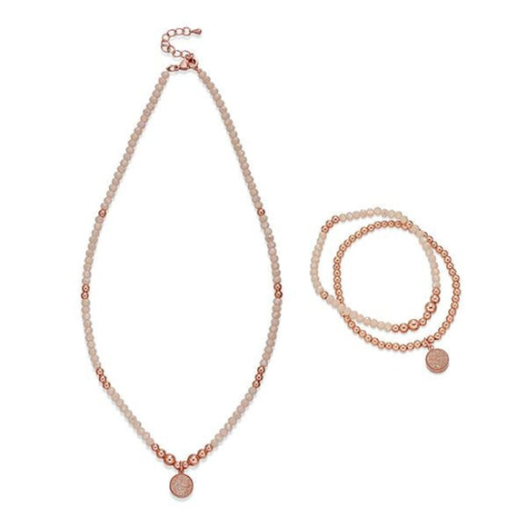 Nude and Rose Gold Beaded Necklace & Bracelet Set | ${Vendor}