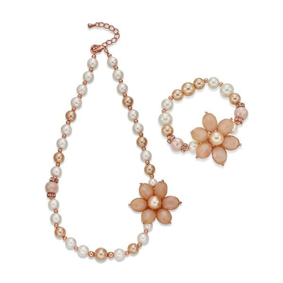 Pearls on Rose Gold Necklace & Bracelet Set | ${Vendor}
