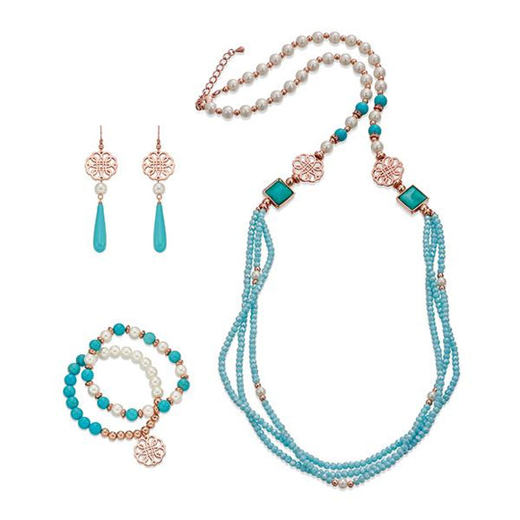 Blue, White and Rose Gold Necklace, Bracelet & Earring Set | ${Vendor}