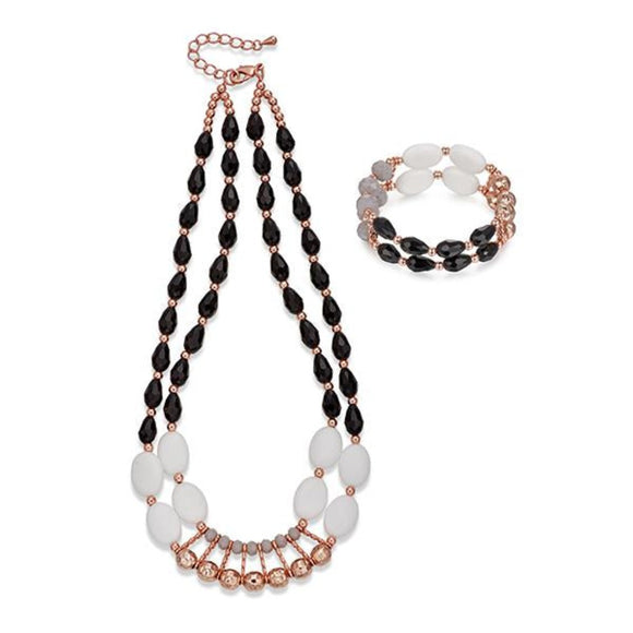 Black, White and Rose Gold Necklace & Bracelet Set | ${Vendor}