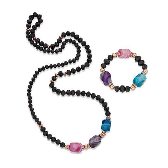 Colourful stones on Black Crystal Necklace & Bracelet Set | ${Vendor}