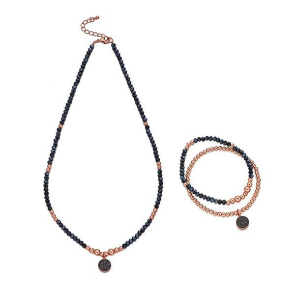 Navy and Rose Gold Bead Necklace & Bracelet Set | ${Vendor}