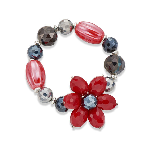 RED AND GREY FLOWER BANGLE | ${Vendor}