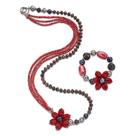 Multicolour stones with flower Necklace & Bracelet Set | ${Vendor}