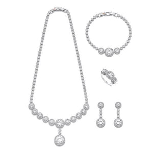 Elegant Silver and White Crystal Jewellery Set | ${Vendor}