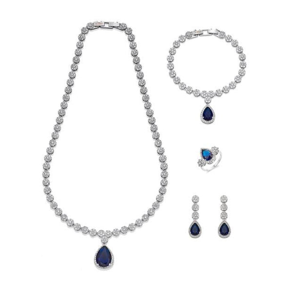 Navy and White Crystals on Silver Jewellery Set | ${Vendor}