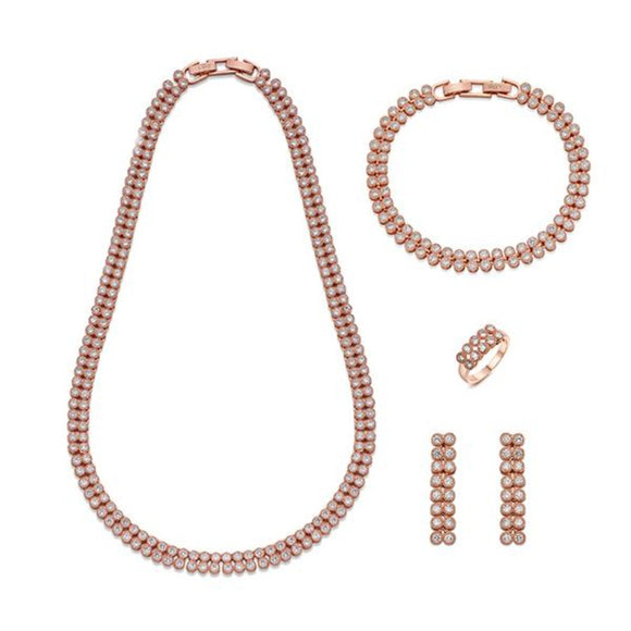 Elegant Double Loop Crystals and Rose Gold Jewellery Set | ${Vendor}