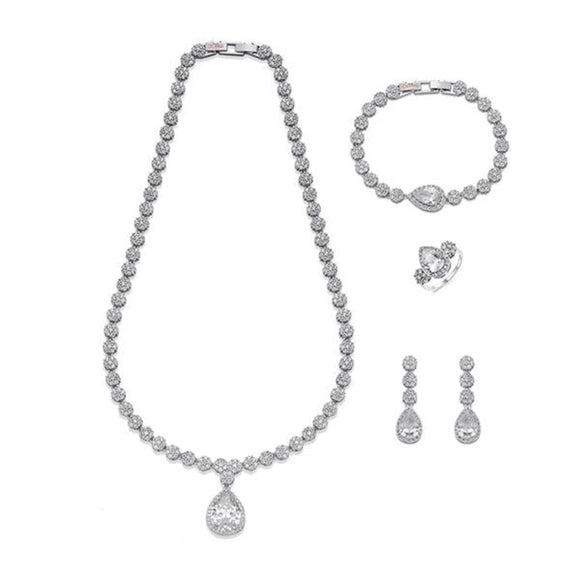 Teardrop and Round White Crystals on Silver Jewellery Set | ${Vendor}
