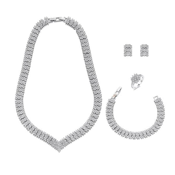 Classic Deco Style Crystals on Silver Jewellery Set | ${Vendor}