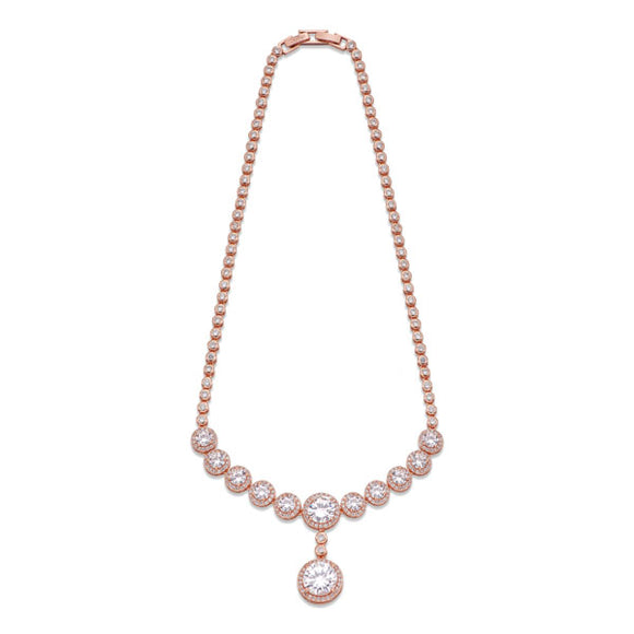 ROSE GOLD NECKLACE WITH CRYSTALS | ${Vendor}