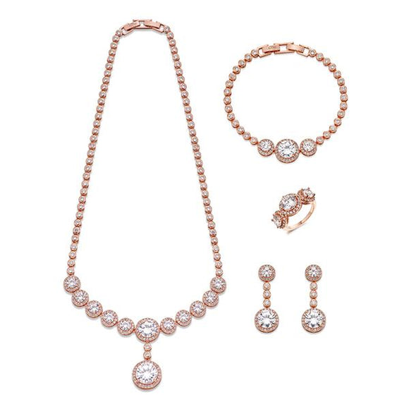 Elegant Crystals and Rose Gold Jewellery Set | ${Vendor}