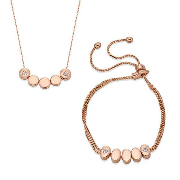 Delicate and Dainty Rose Gold Necklace & Bracelet Set | ${Vendor}