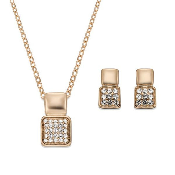Modern Style Crystal and Gold Necklace and Earring Set | ${Vendor}