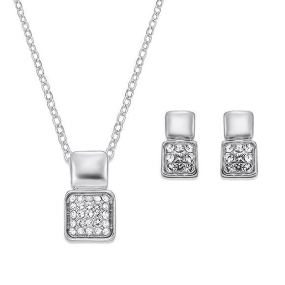Modern Style Crystal and Silver Necklace and Earring Set | ${Vendor}
