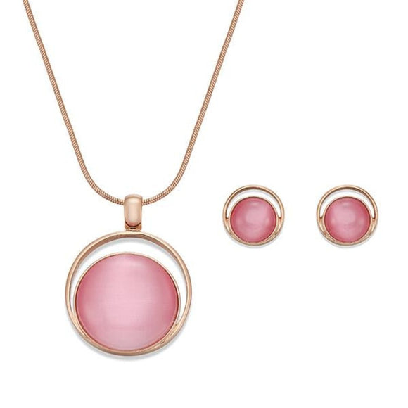 Eyecatching Pink and Gold Necklace & Earring Set | ${Vendor}