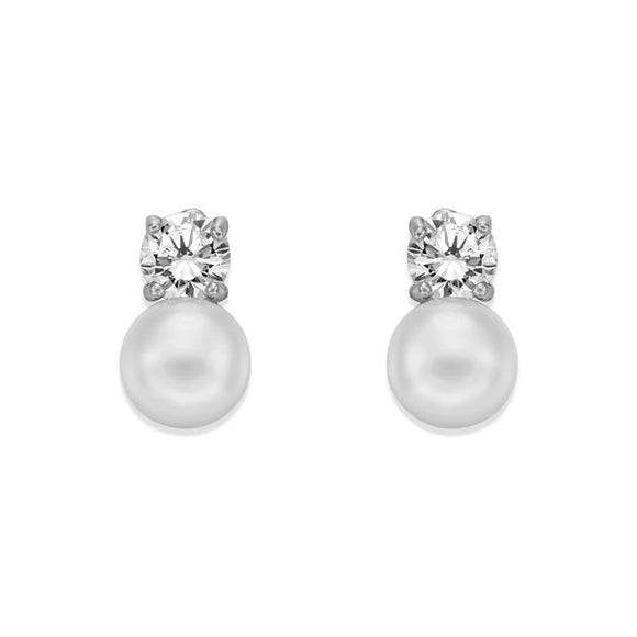 CRYSTAL PEARL STUD EARRINGS. | ${Vendor}