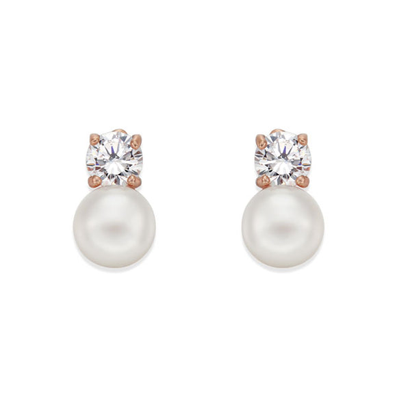PEARL ON ROSE STUD EARRINGS | ${Vendor}