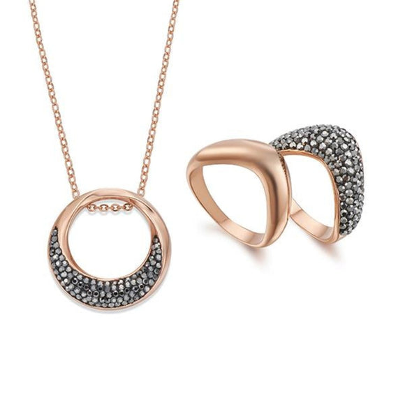 Haematite and Rose Gold Necklace & Ring Set | ${Vendor}
