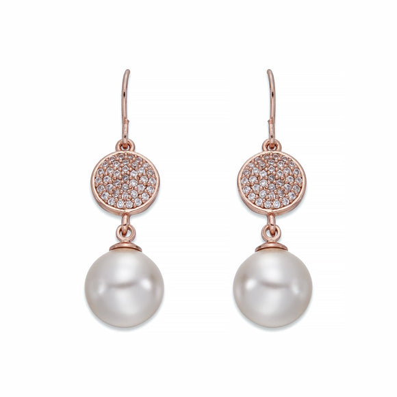 Pearls and Rose Gold Dangle Earrings | ${Vendor}