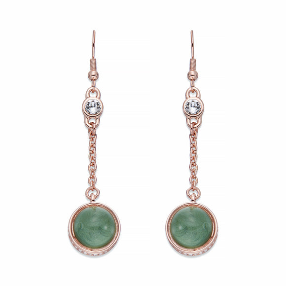 Rose Gold Drop Earrings With Green & White Crystals | ${Vendor}