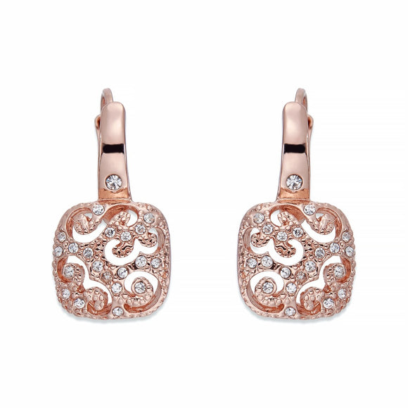 Decorative Rose Gold & Crystal Earrinsg | ${Vendor}