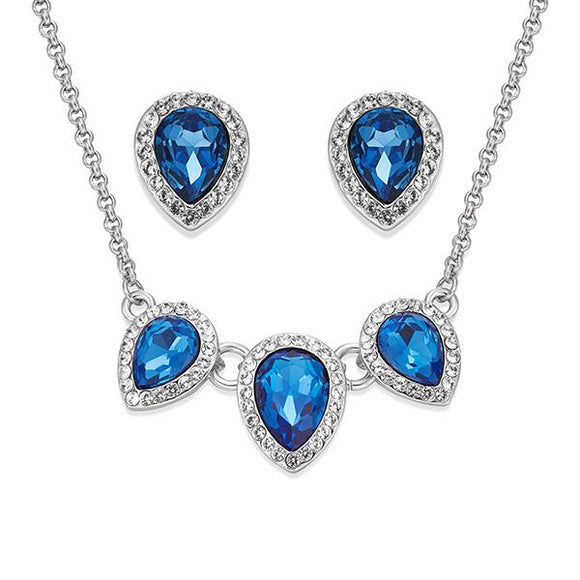 Blue Teardrop Crystals on Silver Necklace & Earring Set | ${Vendor}