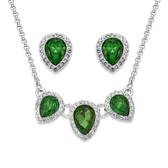 Green Teardrop Crystals on Silver Necklace & Earring Set | ${Vendor}