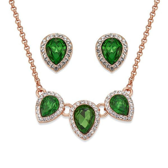 Green Teardrop Crystals on Rose Gold Necklace & Earring Set | ${Vendor}