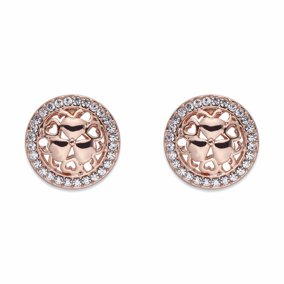 Rose Gold and Crystal Stud Earrings | ${Vendor}