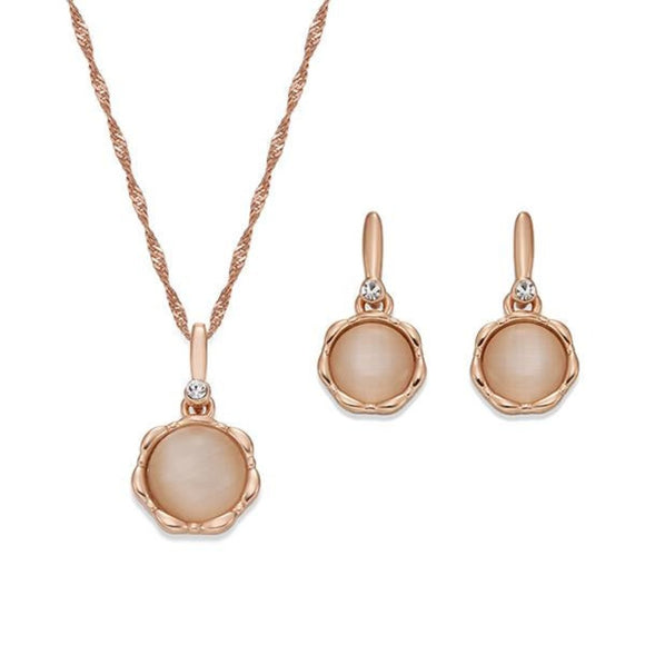 Polished Rose Gold Necklace& Earring Set | ${Vendor}
