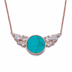 Rose Gold and Turquoise Necklace | ${Vendor}