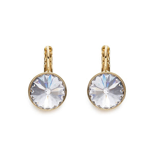 Crystal On Gold Leverback Earrings | ${Vendor}