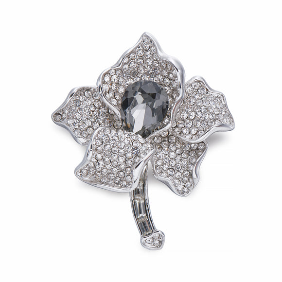 Flower Brooch With Crystals On Silver | ${Vendor}
