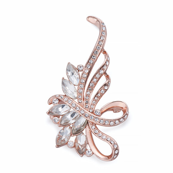 Organic Form Rose Gold and Crystal Brooch | ${Vendor}