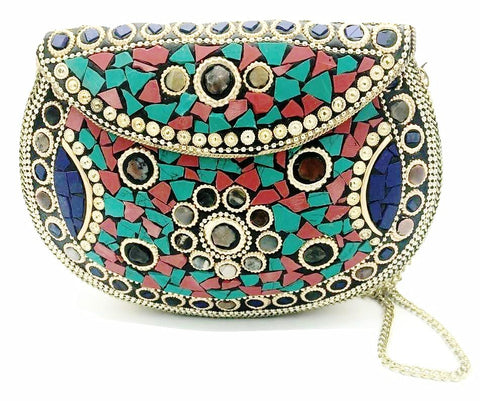 Unique Fashion Handbag with gold and jewel stones