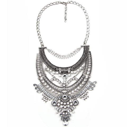 Silver Vintage Crystal Necklace