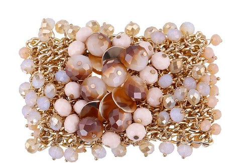Crystal, bead and pearl bracelet