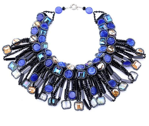 Blue Crystal bib necklace
