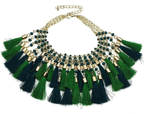 Green Fringe and Gold Bib Necklace