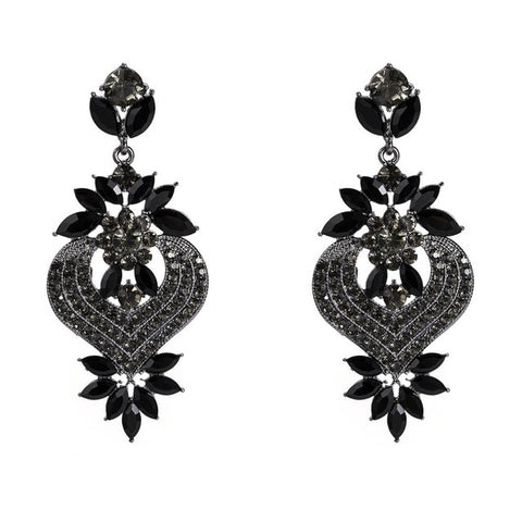 Vintage black and rhinestone earrings