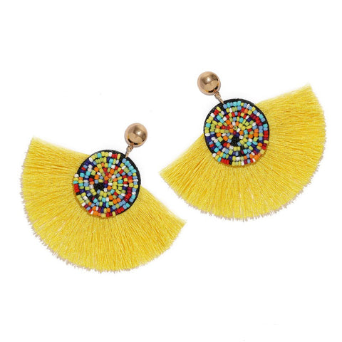 Yellow Geometric Fan Shaped Fringe Earrings