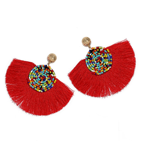 Red Geometric Fan Shaped Fringe Earrings